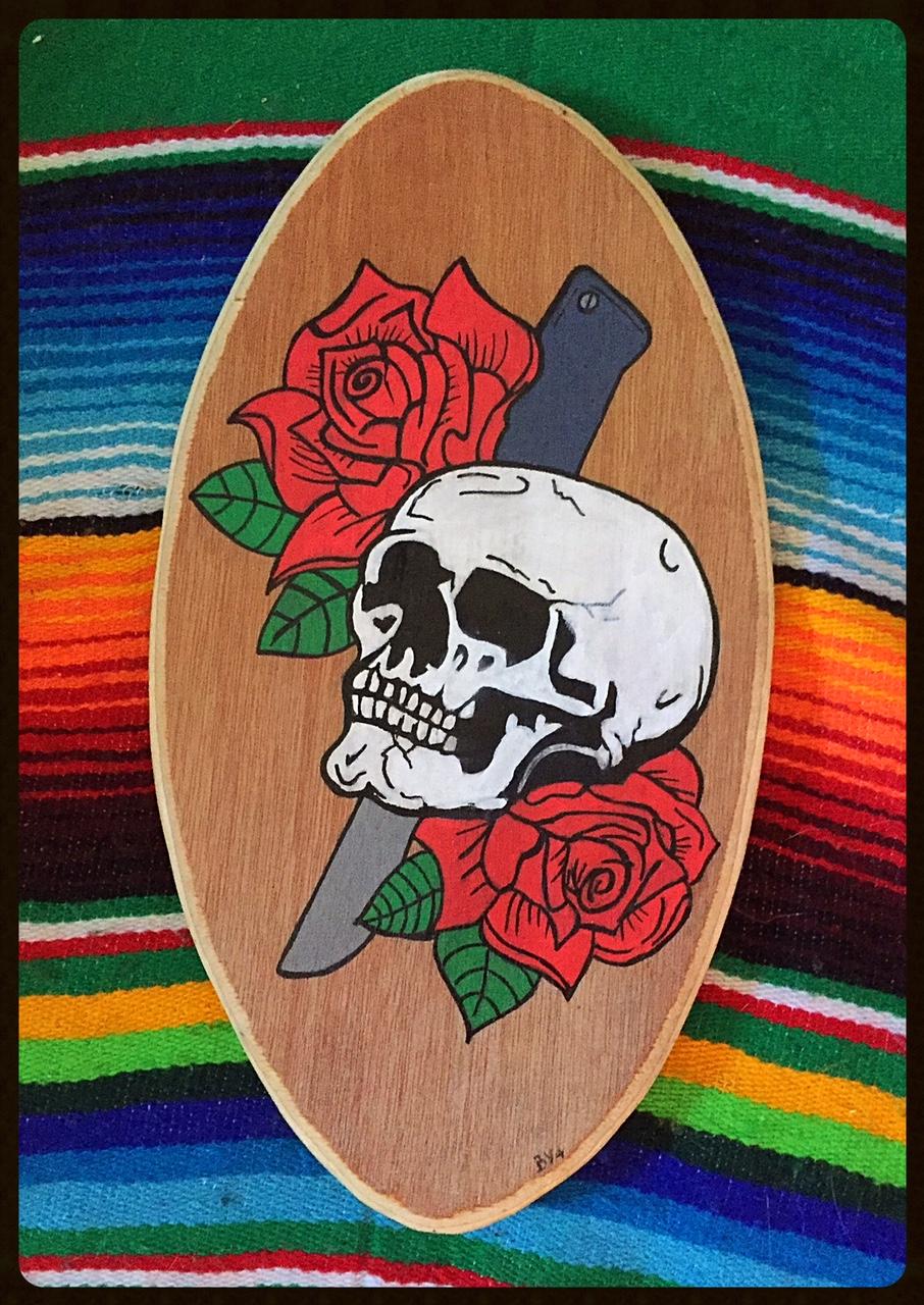 mini board skull roses